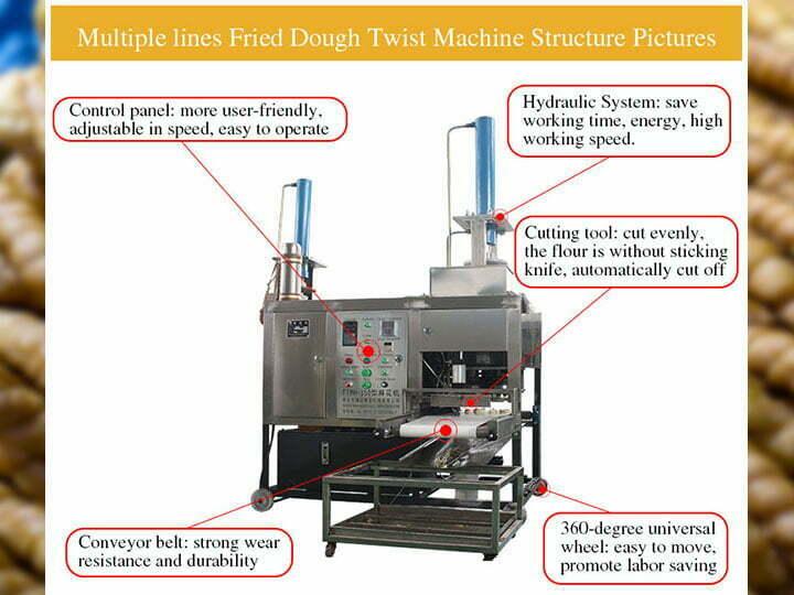 multiple line fried dough machine structure