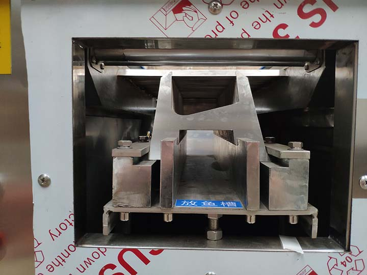 the fish inlet of the fish slicer