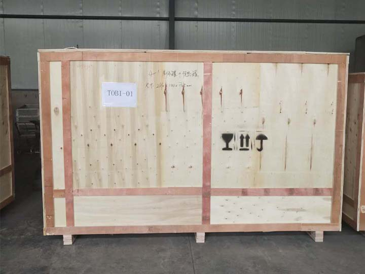 wood case packing of the yogurt processing machine
