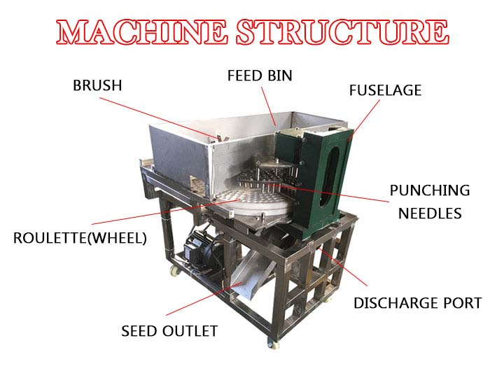 structure of the jujube pitting machine